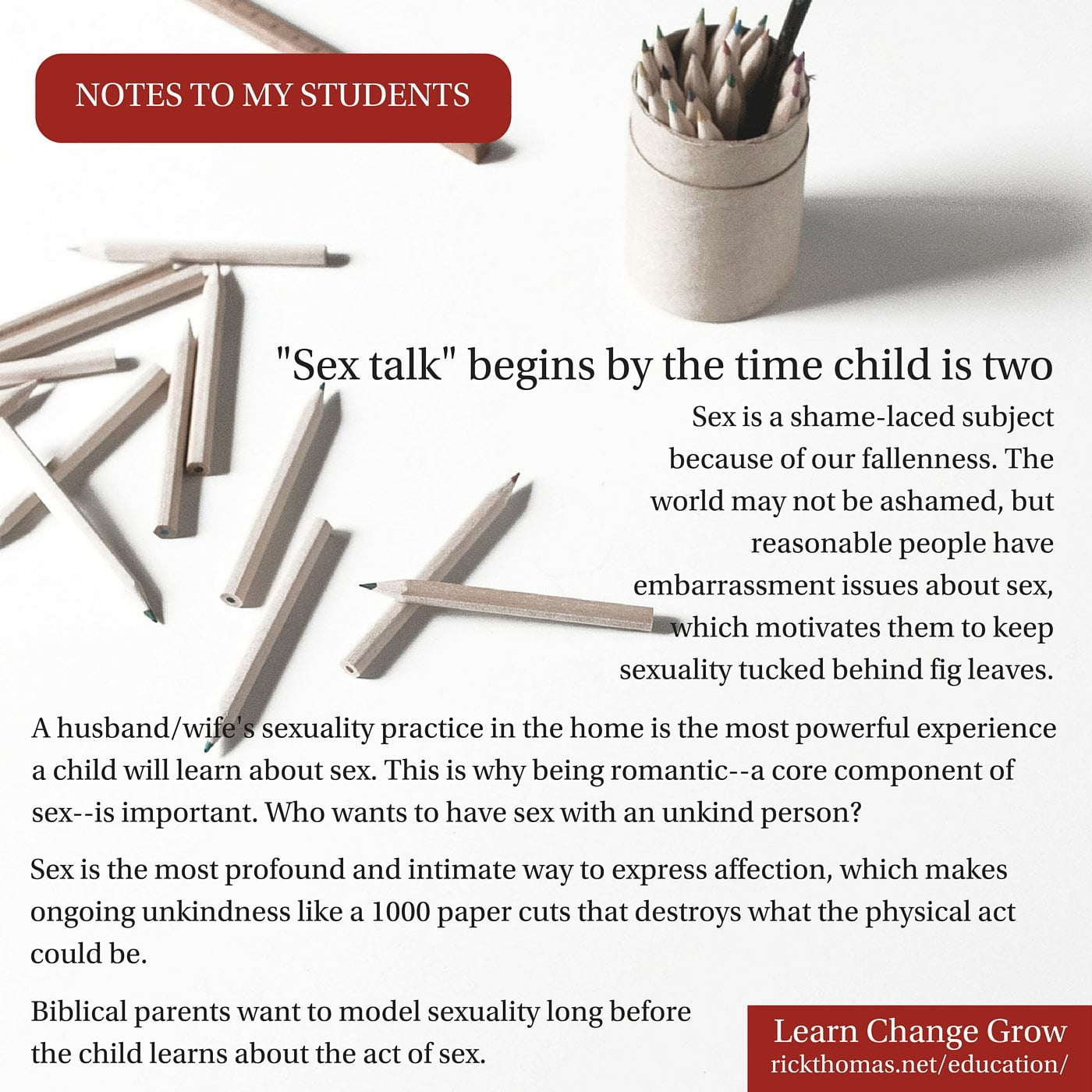 NOTE_ Sex talk begins when child is two
