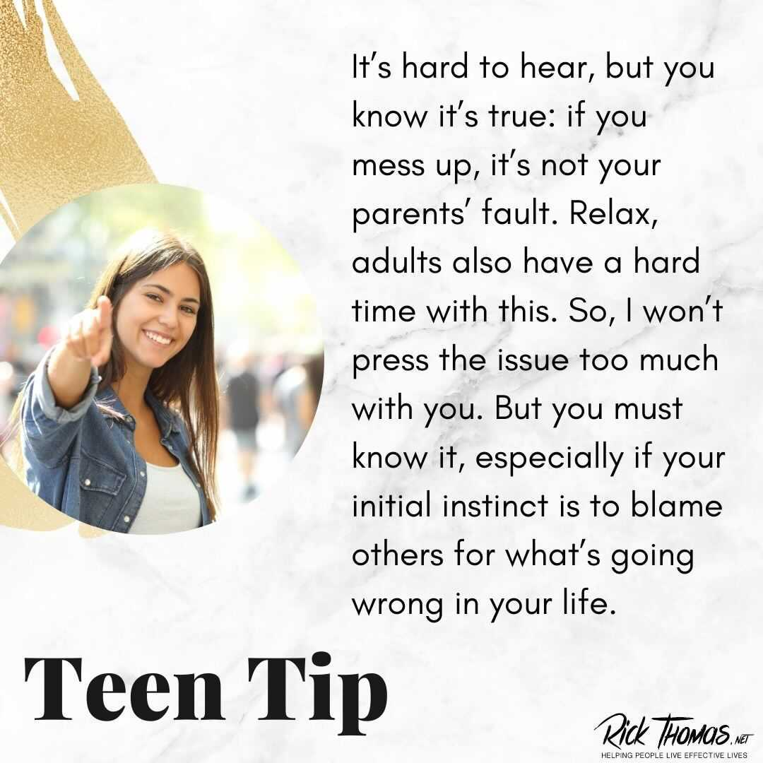 Teen Tip: Who's to Blame When You Mess Up